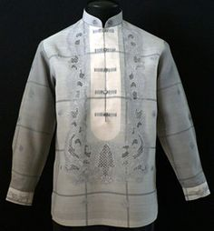 Gray Barong Tagalog 3013 - Get a comfortable, yet modern look with our hand-painted design and with a matching chinese collar and chinese buttoned down Barong tagalog. No matter how you style it, you'll always look pulled together. Its modern design will make a perfect one. #BarongsRUs #barong