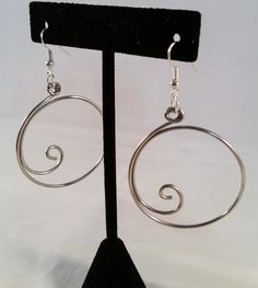 Silver Scrolled Loop Earrings