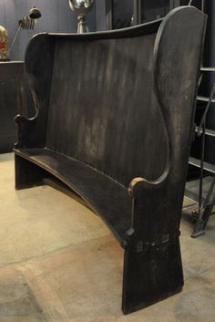 antique english pub bench... HOLY CRAP, i'm obsessed. the bench need be just a tad deeper, and then... perfection. if we could find something like these, i would be the happiest girl in the world.