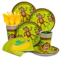 yellow green monkey tableware