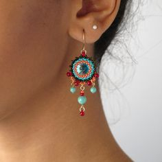 dangle Chandelier Earrings, Unique Handmade beaded with swarovski elements, Miyuky beads and goldfilled 14k