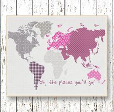 World map Pink and gray Oh, the Places you'll Go! Dr Seuss  Family Room playroom print - Kids wall art Girl bedroom art for children