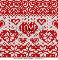 Knitted pattern with hearts. Crochet Cowl Free Pattern, Crochet Edging Patterns, Fair Isle Knitting Patterns, Ravelry Crochet, Knitting Charts, Embroidery Hearts, Cross Stitch Embroidery, Tejido Fair Isle, Cross Stitch Heart