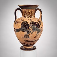 Terracotta neck-amphora (jar). Archaic. ca. 510 B.C. Greek, Attic. Reverse, centaurs beat the lapith Kaineus into the ground