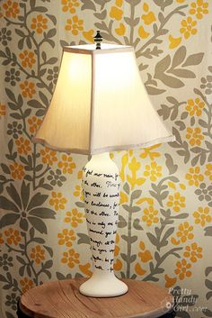 Easy DIY: song lyric lamp makeover... Sara bareilles and/or Demi Lovato FTW