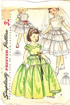 Girls Dress Pattern size 4 Evening Dress Patterm Party Dress Pattern Flower Girl Dress Pattern 1950s Simplicity 4135 Vintage Sewing Pattern.