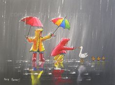 PETE RUMNEY FINE ART BUY ORIGINAL ACRYLIC OIL PAINTING FRIENDS IN THE RAIN in Art, Direct from the Artist, Paintings | eBay