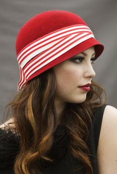 Red Stripe Cloche Hat by MaggieMowbrayHats on Etsy