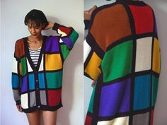 Vtg Color Block Retro Knit Buttoned Mondrian by LuluTresors, $32.99