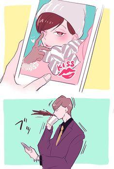 【六つ子】仕事中に末弟の本気のキス顔写真テロくらうあつしくん Ichimatsu, Make Me Happy, Anime Love, Vulnerability, Cool Kids, Poses, Manga, Drawings, Drugs