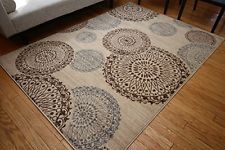City Contemporary Modern Flowers Circles Wool Area Rug, 5'2 X 7'3, Beige