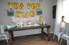 Tea for Two birthday party.  Little girl birthday party theme. Second birthday party theme. Tea party birthday party.
