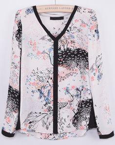 Blusa cuello pico tinta manga larga-Blanco EUR€21.55