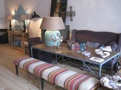Furniture covered in beautiful kilim rugs. www.lavieboheme-webshop.nl.