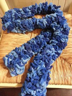 Hand Knit Blue Soft Ruffle Scarf. This Photograph Copyright © Jeanette Roberts, The ArtFull Boutique 2014.
