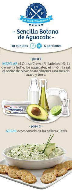 Botana de Aguacate con queso philadelphia