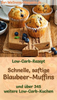 Fast, juicy blueberry muffins - low-carb recipe without any .- Schnelle, saftige Blaubeer-Muffins – Low-Carb-Rezept ohne Zucker Recipe for juicy low-carb blueberry muffins: The low-carb, low-calorie cake is prepared without sugar and flour … carb bake - Low Carb Lunch, Low Carb Dinner Recipes, Low Carb Desserts, Healthy Low Carb Dinners, Low Calorie Cake, Aperitivos Keto, Cake Recipes, Dessert Recipes, Muffin Recipes