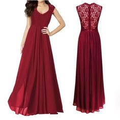 Wine Red Patchwork Lace Pleated V-neck Maxi Dress