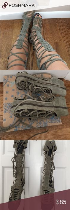 Free People Gladiator Sandals Free People Sun Seeker Sandal in Olive (Used) Free People Shoes Sandals