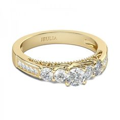 Jeulia Vintage Yellow Gold Round Cut Created White Sapphire Engagement Ring