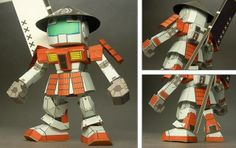 """Gundam Samurai Ashigaru Paper Model - by Shanshan - == -  A really very well done paper model in only one sheet of paper of a Gundam Samurai in SD style (super deformed style), created by Japanese designer Shanshan, from """"Make!"""" website."""
