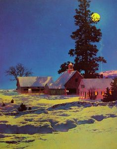 Maxfield Parrish (1870-1966) Moonlit Night, Winter Oil on paper 1942 49.21 x 40.01 cm