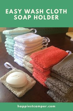 Easy 5-Minute Wash Cloth Soap Holder. Cute and functional! This wash cloth soap holder is the perfect gift. #sewingprojects #soap #soapmaking #bathandbody #homestead #homesteading #frugal #sustainable #craftideas #beginner #sewingidea #howtomake