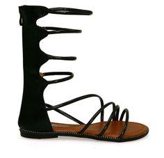 Katia-49 Black Multi Strap Faux Leather Gladiator Sandals