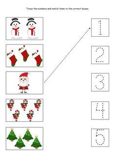 Free Printable Christmas Worksheets, Christmas Worksheets Kindergarten, Preschool Christmas Activities, Preschool Worksheets, Christmas Printables, Counting Worksheet, Theme Noel, Kids Christmas, Tracing Sheets