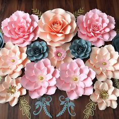 In live with this Pink, Peach, Grey and Gold Paper Flower Set. This will gonna be hang in Princess  Nursery. Here I'm using, Large Rose, Petal #21, Petal #157, Petal #97, Petal #42 and Petal 99. Templates available in my shop. Click the picture to purchase