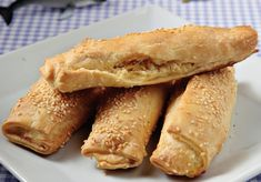 Greek Pastry Dough Stuffed with Cheese quesitos Cypriot Food, Greek Pastries, Savory Muffins, Food Categories, Greek Recipes, Hot Dog Buns, Food Inspiration, Bakery, Food And Drink
