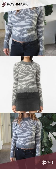 """ALLSAINTS Animal Print Sweater """"Quant Cropped Tiger"""" AllSaints Crew neck new with tags. Exaggerated neck trim. Raglan sleeves. Jacquard tiger design. Lightweight, fluffy texture. 55% mohair/ 30% nylon / 15% wool. SIZE & FIT Regular fit Semi-ropped length.  Brand new with tags! No longer available on Allsaints website. All Saints Sweaters Crew & Scoop Necks"""