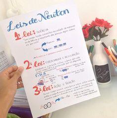 - very nice stuff - share it -Leis de Newton ✨ Notebook Organization, School Organization, Mental Map, Lettering Tutorial, Study Hard, Studyblr, School Notes, Study Inspiration, Study Notes