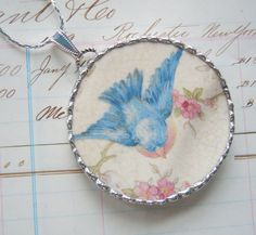 Fiona & The Fig  Vintage 1940s Era Bluebird Blue Bird of Happiness EXTRA LARGE Broken China Soldered Necklace Pendant Soldered Charm