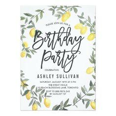 Boho Watercolor Lemon Wreath Birthday Party Invitations