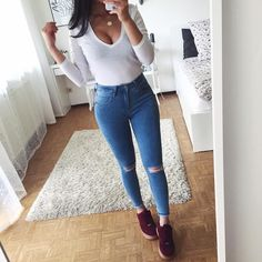 Best Street Style Ideas You Can Definitely go With Spring Outfits, Trendy Outfits, Cute Outfits, Teen Fashion, Fashion Clothes, Fashion Outfits, Casual Chic, Casual Wear, Vetement Fashion