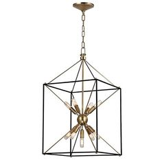 Glendale Aged Brass Nine Light 16 Inch Wide Pendant With Black Iron Hudsonvalley Starburst