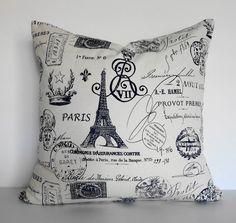 Shabby Chic Decorative Paris Traveler Stamp Passport Pillow Cover, 18 x Eifel Tower, Blue and White Paris Room Decor, Paris Rooms, Paris Bedroom, Paris Wall Art, Paris Theme Bedrooms, Paris Art, Dream Bedroom, Tour Eiffel, Decoration Gris