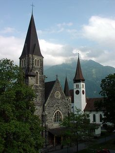 Two churches in Interlaken, Switzerland Old Country Churches, Old Churches, Church Pictures, Church Architecture, Basel, Church Building, Cathedral Church, Iglesias, Place Of Worship