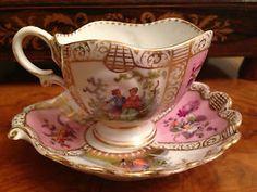 ** Starožitný šálek na čaj - malovaný porcelán ♣ Dresden **