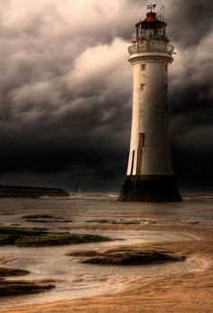 New Brighton lighthouse, Wirral, Merseyside.