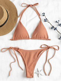 Product Ribbed String Bikini Set available for Zaful WW, get it now ! Bikini Set, Bikini Push Up, Haut Bikini, High Cut Bikini, Bikini String, Wired Bikini, Bikini Types, Embellished Sandals, Mini Vestidos