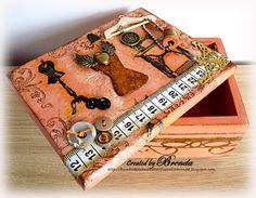 I like this box - dress form sewing type box. Mixed Media Boxes, Cigar Box Crafts, Altered Cigar Boxes, Altered Canvas, Art Impressions Stamps, Jar Art, Decoupage Box, Diy Handbag, Sewing Box