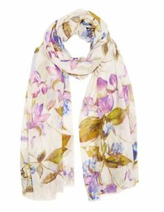 M&S Collection Lightweight Mirror Floral Scarf-Marks & Spencer