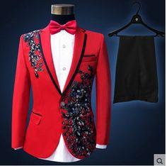 Men Slim Fit Suits 2016 New Brand Men Sequin Costume Plus Size Paillette Suit Party Event DJ Stage Costume Homme Slim Suit Blue Tuxedo Jacket, Red Tuxedo, Tuxedo For Men, Tuxedo Jackets, Modern Tuxedo, Red Jackets, Formal Tuxedo, Tuxedo Suit, Blue Pants Men