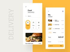 This is a nice clean design for a food delivery app. It appears to be easy to navigate, which is ideal when using apps like this. It should be quick, convenient and easy to understand. Ios App Design, Mobile App Design, Design Android, Interaktives Design, Android Ui, Logo Design, User Interface Design, Mobile Ui, Flat Design