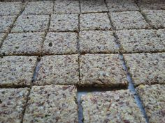 Almond and Pecan Crackers: 1 cup nut pulp (half Almond & half Pecan), 1 cup seed pulp (Raw Flax, Raw Sesame, Raw sunflower), Thyme, Oregano, Tarragon, 2 Tbsp Coconut Oil, 1/2 tsp Sea Salt.