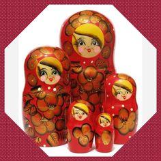 Autumn 5-Piece Russian Nesting Doll Set #babushka #stackingdoll #Russiangifts #Russiantoy #nestingdoll #matryoshka #Woodendolls #Russianbox #Russiandoll #dollindoll #nestingdolls #lacquerbox #nesteddoll #babooshkadoll Unique Gifts For Kids, Doll Set, Wooden Dolls, Bowser, Shapes, Autumn, Pattern, Handmade, Art