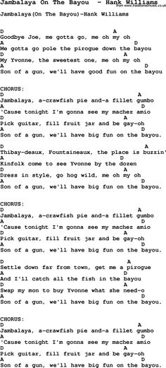 Song Jambalaya On The Bayou by Hank Williams, song lyric for vocal performance plus accompaniment chords for Ukulele, Guitar, Banjo etc.