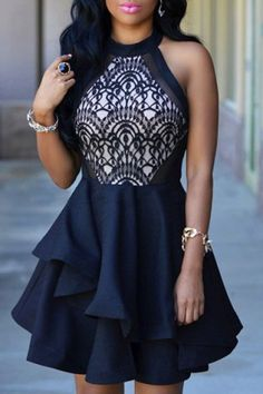 Elegant Stand Collar Flounced Sleeveless Dress For Women